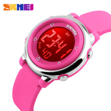 New SKMEI Brand Fashion Watch Change LED Light Date Alarm Round Dial Digital Wrist Watch Children Student Watches Free shipping(China)
