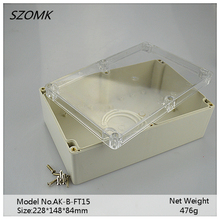 1 piece transparent cover abs plastic waterproof enclosure electronics equipment box 228x148x84mm(China)