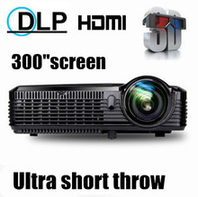 300inch 5500ANSI short throw Movie Home Theater Outdoor DLP 3D Multimedia Cinema Film  VGA Digital 1080P Video Projector Beamer