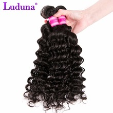 Luduna Hair Peruvian Deep Wave Weave Human Hair Bundles 100g One Piece Natural Color Non-remy Hair 8-28inch Can Be Straighten