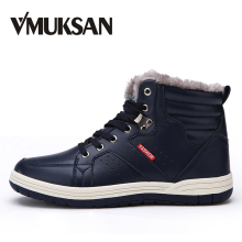 VMUKSAN 겨울 와 퍼 Ankle Boots Men (High) 저 (Quality PU Leather 망 눈 Boots Plus Size 39-48 방수 겨울 Shoes Men(China)
