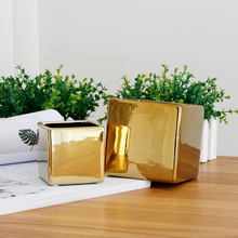 Gold/sliver Indoor Small Plant Vase Pure Green/white/black Flowers Plants Pot Luxury Plating Ceramic Craft Elegant Life Supply