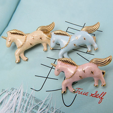 Timlee H099 Free shipping Flying Horse Pegasus Unicorn Hair Clip Hair Pins Girls Lovely Hair Accessary Wholesale .(China)
