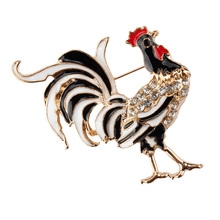 2017 black Crystal Rhinestone Cock Rooster Brooches Fashion Costume Brooch Pin jewelry gift