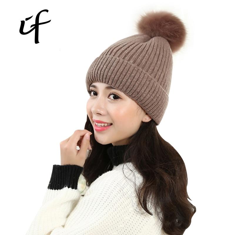 illfly Comfortable Hair Ball Womens Knit Hat Winter Autumn Warm Knitted Shoe For Female Knitted Hats Girls Caps Beanie Gorro Îäåæäà è àêñåññóàðû<br><br><br>Aliexpress