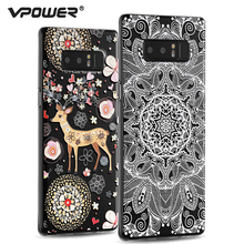 For Samsung Galaxy Note 8 case cover, Vpower Silicone 3D Relief Print tpu soft cat flower Case for galaxy note 8 6.6 inch(China)