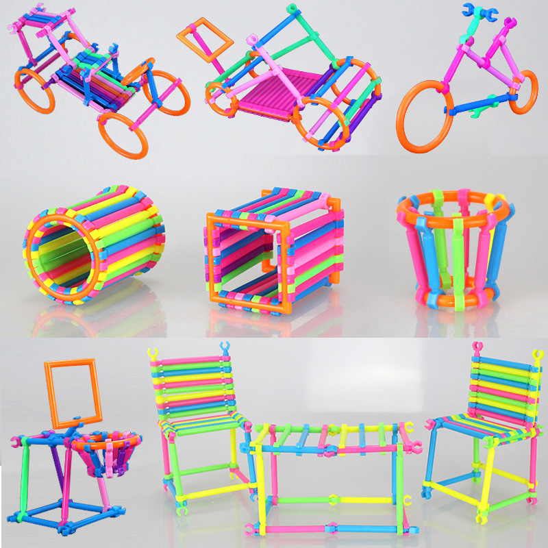 BD 256pcs Kids DIY Creative Intelligence Sticks Blocks Plastic Early Educational Magic Learning Building Blocks Toys Gift 6