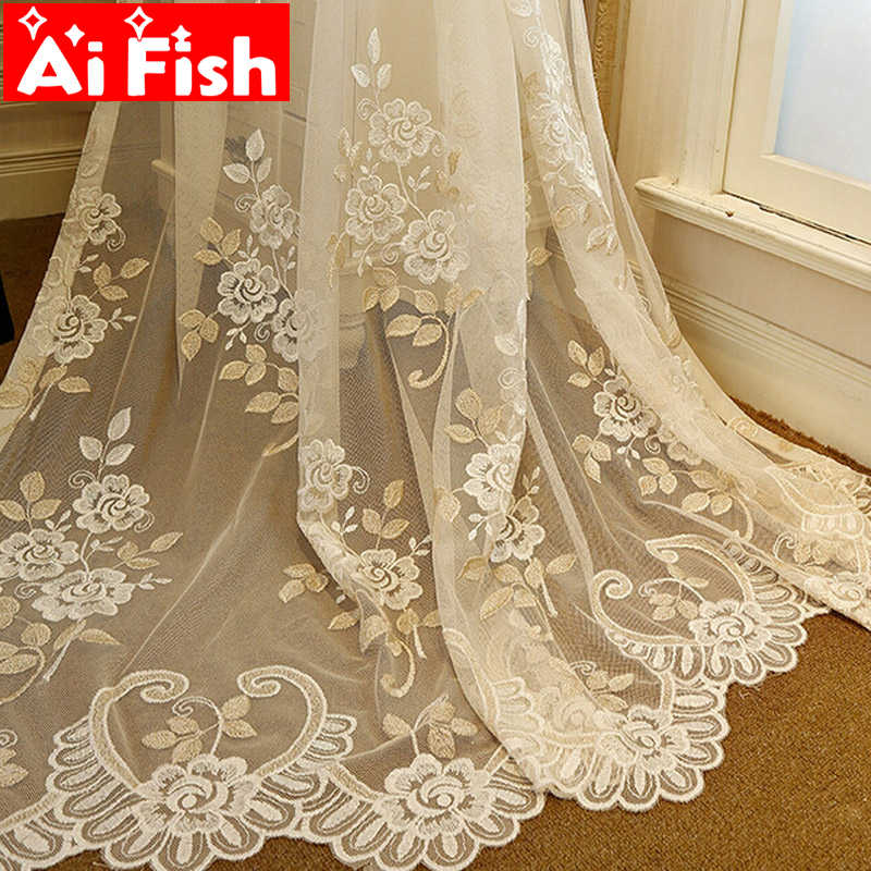 Luxurious Beige High Grade Embroidered Bedroom Curtains Window Curtains for Living Room Sheer Tulle Elegant  Drapes AP364-30