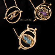 Harry Rotatable Hourglass Necklaces Pendants Potter Hermione Granger Rotating Spins Necklace Time Turner Long Necklace Jewelry