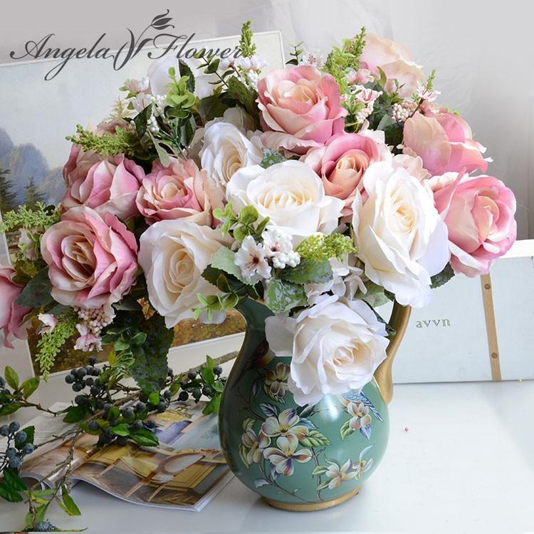15 Heads Artificial Flowers  Retro Tea Rose Bouquet Wedding Party Ornament Hot