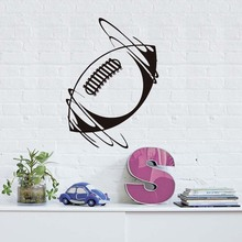 DCTOP Unique Bedroom Decoration Spinning Rugby Ball Wall Sticker Vinyl Removable Home Decor Self Adhesive Rugby Pattern Sticker