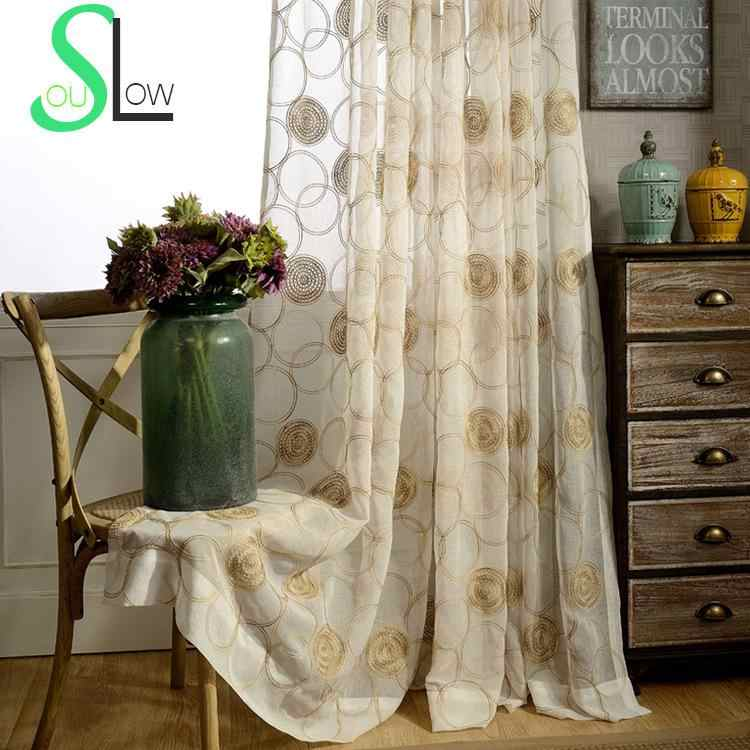 Slow Soul Rose Circle Customized Embroidered Floral Curtains For Living Room Curtain Tulle Kitchen Sheer Bedroom Chinese Luxury