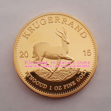 XDC0105C 5 Pcs 1 Oz Fine Gold Krugerrand Proof Gold Coin Dateds 2015 South Africa Replica Coin Non magnetic Non Copy