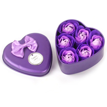 6Pcs/Box Bathing Soap Artificial Flower Gift Heart Shaped Rose Bathing Soap Day Mother's Day Wedding Party Gift