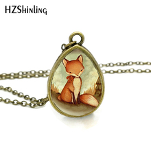 2017 New Red Fox Necklace Woodland Creature Jewelry Tear Drop Pendant Animal Art Glass Necklaces Gifts Women(China)