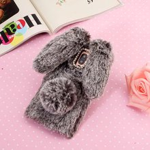 "Diamond Plush Cell Phone Case For huawei mate 9 pro 5.5"" Cases Hair Ball Rabbit Ears Protector case(China)"