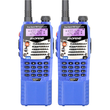 2PCS Blue Baofeng UV-5RA 5W FM Transceiver with LED Flashlight, FM Radio, Long Battery and Headset