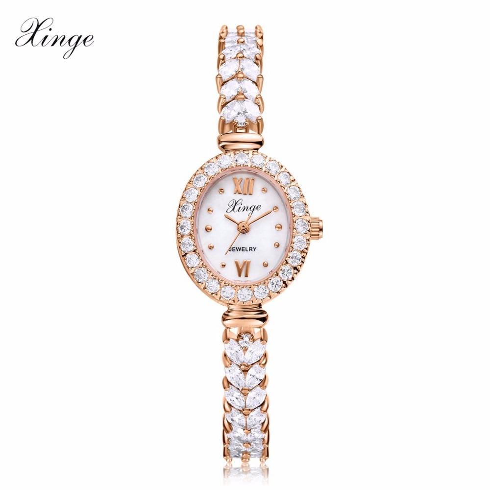 Xinge Luxury Women Rose Gold Watches Zircon Crystal Bracelet Watch Business Quartz Wristwatches Ladies Dress Fashion Wrist Watch<br>