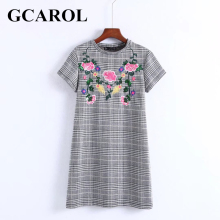 GCAROL New Arrival Embroidered Floral Plaid Women Dress British Style Mini Dress High Quality Vintage Female Dress(China)