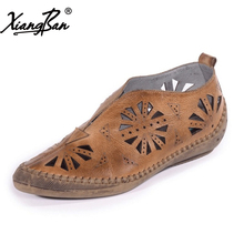 Xiangban handmade original retro women shoes pointed leather carved hollow out breathable ladies pumps ethnic style