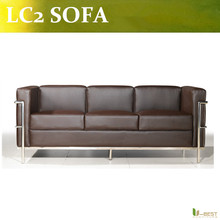 U-BEST Modern design LC2 3 seater sofa,high quality genuine leather LC2 sofa,living room sofa(China)