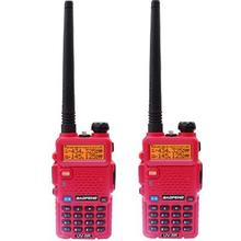 2pcs BAOFENG UV 5R Red Color Dual Band Two-way Radio Free Earpiece Baofeng UV-5R 5W walkie talkie portable ham radio for car