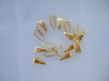 Jewelry Findings DIY Jewelry Parts Accessories Gold Pendant Clips & Pendant Clasps Pinch Clip Bail Pendant Connectors 100pcs/lot
