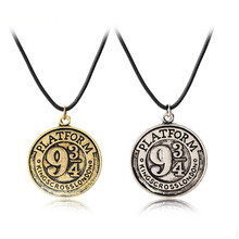 Platform 9 3/4 Necklace Hogwarts Express Train Logo Pendant Fashion Vintage Retro Movie Film Jewelry For Men And Women wholesale