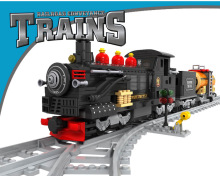 Model building kits compatible with lego city steam train rails traffic 586pcs 3D blocks Educational model building toys hobbies(China)