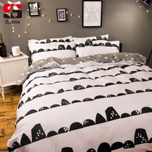 Sookie Geometric Print Bedding Set 4pcs King Size Duvet Cover Set Modern Home Comforter Bedclothes 100% Cotton Soft Bed Linen(China)