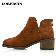 LORFRCIN Suede Leather Ankle Boots Fashion Square Heel Chelsea Boot Genuine Leather Women Shoes 2017 Autumn Mid Heel Lady Boots