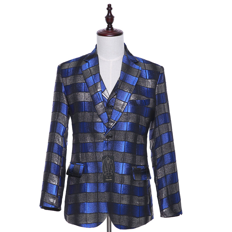 10-1.109.99..New Blue and Black Horizontal Striped Fabric Spring Autumn Casual Blazer Coon Slim England Suit Male Jacket Size XS-4XL CUSTOM