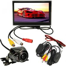 HOT 5Inch Car LCD Monitor + IR Wireless Rearview Camera Reversing Waterproof Cam Kit + Wireless Transmitter(China)