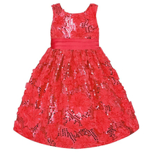 On Sale Girls Dress For Chirstmas Party Clothes Kids Flower Dresses Girls Red Wedding Dress Baby Girls Party Clothes