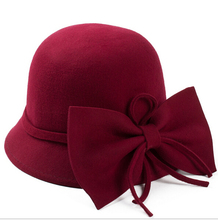 Bowknot Design Vintage Lady's100% Wool Felt Fedora Floppy Hat 5 Colors Avalable Free Shipping(China)