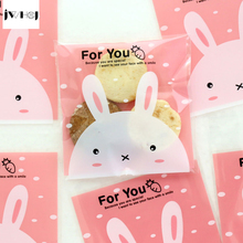 100 pcs Cute pink rabbit adhesive bag cookies diy Gift Bags for Christmas Wedding Party Candy Food&Handmade soap Packaging bags