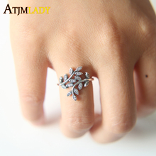 Anillos Sale Limited Party Crystal 2017 High Quality Oxidized European Style Spring Cz Leaf Women Ladies Jewelry Rings Fashion(China)