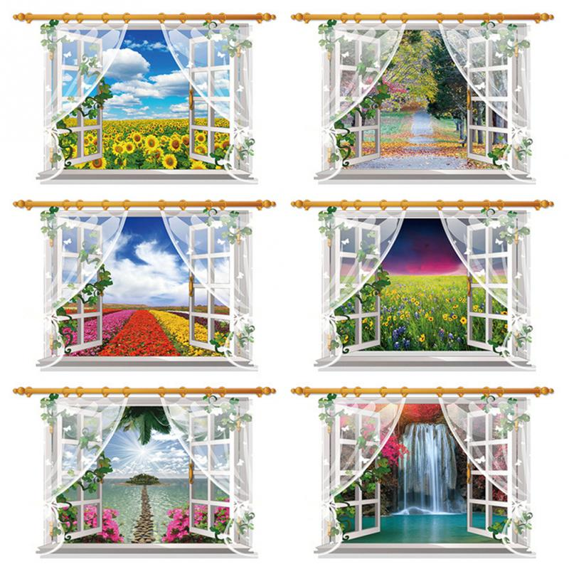 HTB1ge48hrSYBuNjSspixh4NzpXas - 3D Window View Nature Landscape Wall Sticker  For Living Room