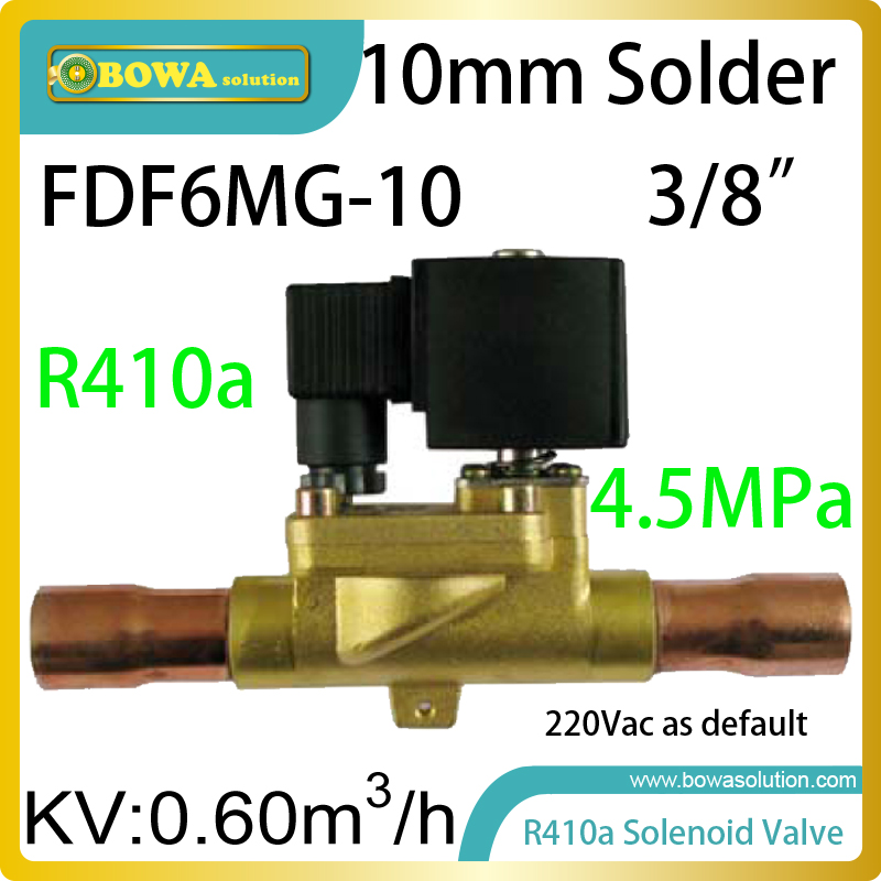 R410a coolant solenoid valve with ODF connection is suitable for air source, water/geothermal source heat pump water heaters<br>