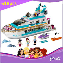 BELA Buidling Blocks 10172 Friends Dolphin Cruiser 41015 Model Compatible LEPIN Bricks Figure Toy For Children 618 PCS