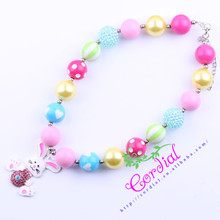Cheap Free Shipping Fashion Beaded Kids Jewelry Chunky Bubblegum Beads Easter Rabbit Necklaces Design For Gift CDNL-410090