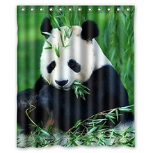 Custom Bath Curtains Panda Bamboo 160x180cm Fabric bathroom accessories Shower Curtain With Hooks