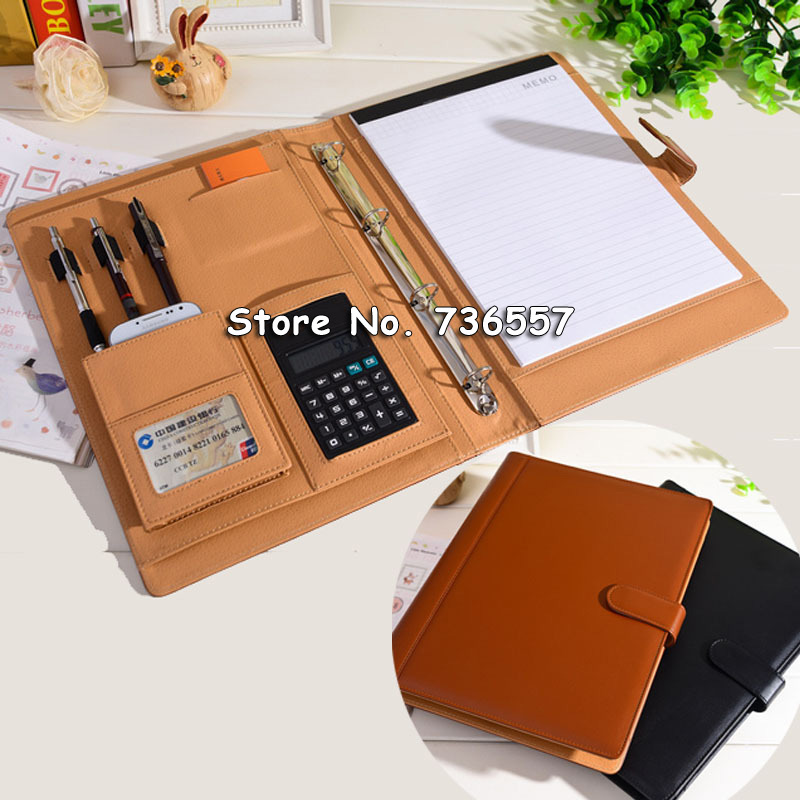 PU leather folder Padfolio multifunction organizer planner notebook ring binder A4 file folder with calculator office supplies<br>