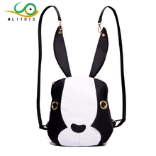 MLITDIS 2017 the new backpack women leather PU fabric cute bunny ears travel street personality black Creative Bags art female(China)