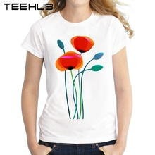 Poppy Flowers Women T Shirt Short Sleeve Slim Lady Tops Red Flowers Printed Girl's t-shirt Novelty Famale Tee(China)