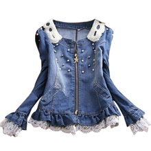 free shipping 2016 Best selling!!wholesale and retail ladies lace jeans coat pearl collar women denim jacket female cowboy wear(China)
