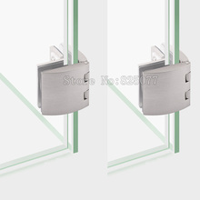 8PCS Brushed zinc alloy arc bilateral glass hinge showcase glass door clamp cabinet clip for 5-10mm thickness glass JF1272
