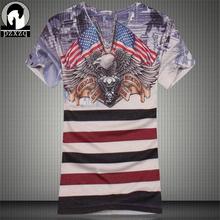 New Arrival 2016 Fashion Mens T shirt Brand Design American Flag Eagle V Neck 3d Printed Tee Shirt Cotton Casual Men T-shirts