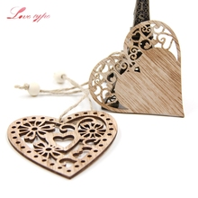 12PCS 3Styles can option Heart Wooden Pendants Ornaments Home Wedding/Christmas Party Decorations DIY Craft Supplies Kids Gift(China)