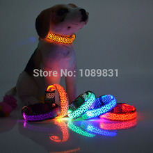 Pet Dog collar Leopard Nylon Safety LED Collar Colorful Flash Light Neck